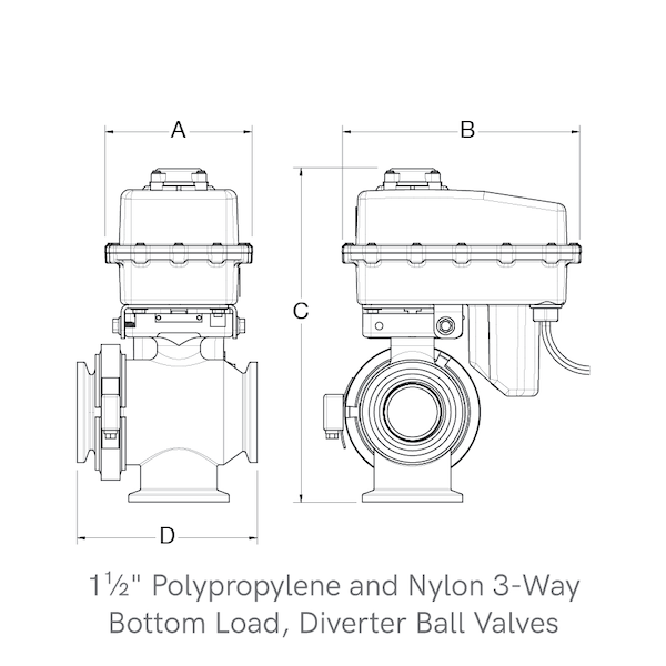3-Way, Bottom Load Diverter Ball Valves